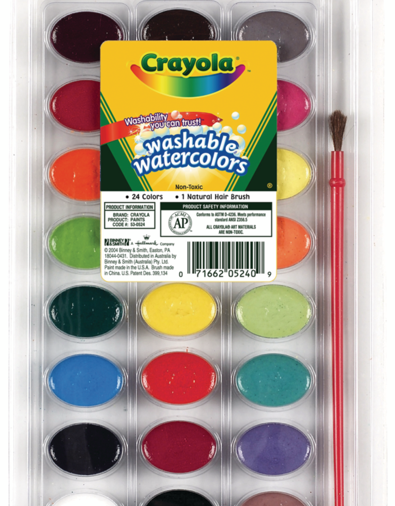 Crayola Washable Watercolor for Kids 24 color with Brush