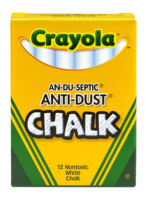Crayola Low Dust White Chalk 12 Stick Box