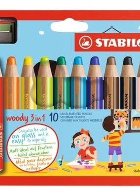 Stabilo Woody Set of 10 with Sharpener