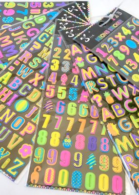 Sticker Puffy Numbers Neon