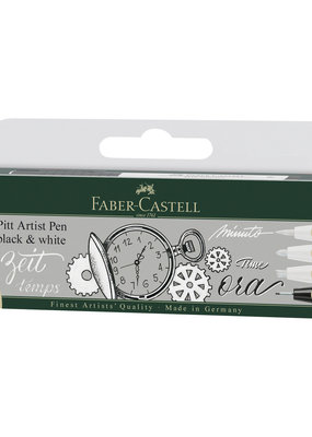 Faber-Castell Pitt Pen Black And White Set of 4