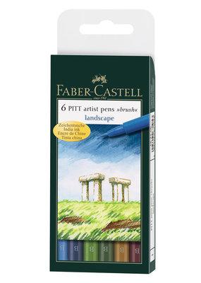 Faber-Castell Pitt Artist Brush Pen Set Of 6 Landscape Set