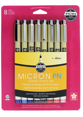 Sakura Micron Pen Pigma PN Plastic Nib Pen Set Of 8