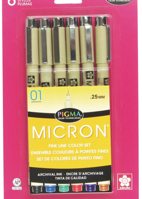 Sakura Micron Pen .05 Set Of 6 Assorted Colors