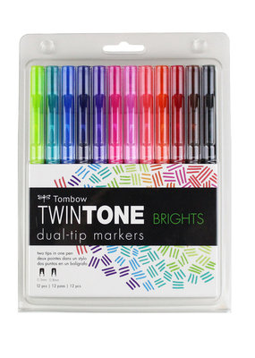 Tombow Tombow Twin Tone 12 Marker Set Bright