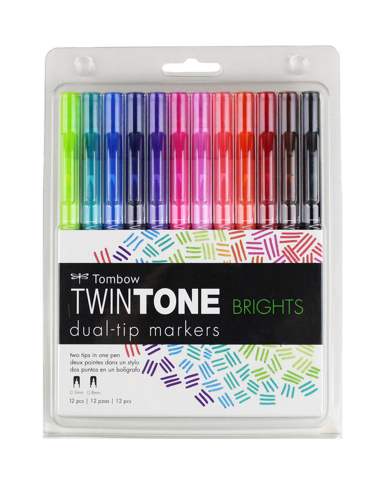 Tombow Tombow Twin Tone 12 Marker Set Bright