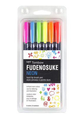 Tombow Fudenosuke Pens Neon 6 color set