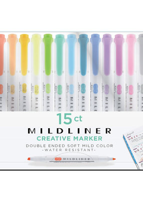 Zebra Zebra Mildliner Double Ended Highlighter 15 Color Set