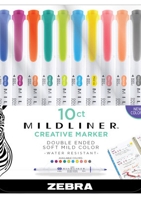 Zebra Zebra Mildliner Double Ended Highlighter 10 Color New Colors Set