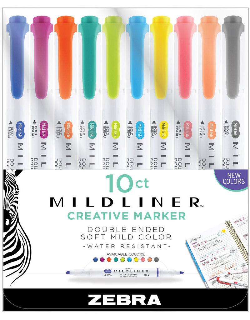 Zebra Zebra Mildliner Double Ended Highlighter 10 Color New Colors Set