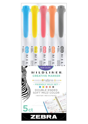 Zebra Zebra Mildliner Double Ended Highlighter 5 Color Set