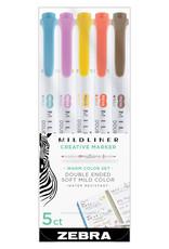 Zebra Zebra Mildliner Double Ended Highlighter 5 Color Set