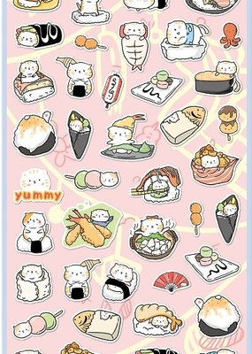 Sticker Flat Sushi Cat