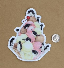 Amy Rose Moore Illustration Sticker Penguins and Ice Cream