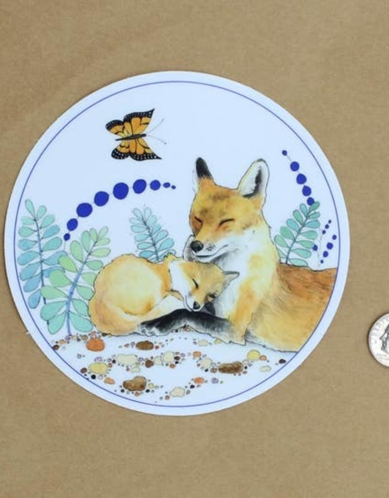 Amy Rose Moore Illustration Sticker Mama Fox And Baby