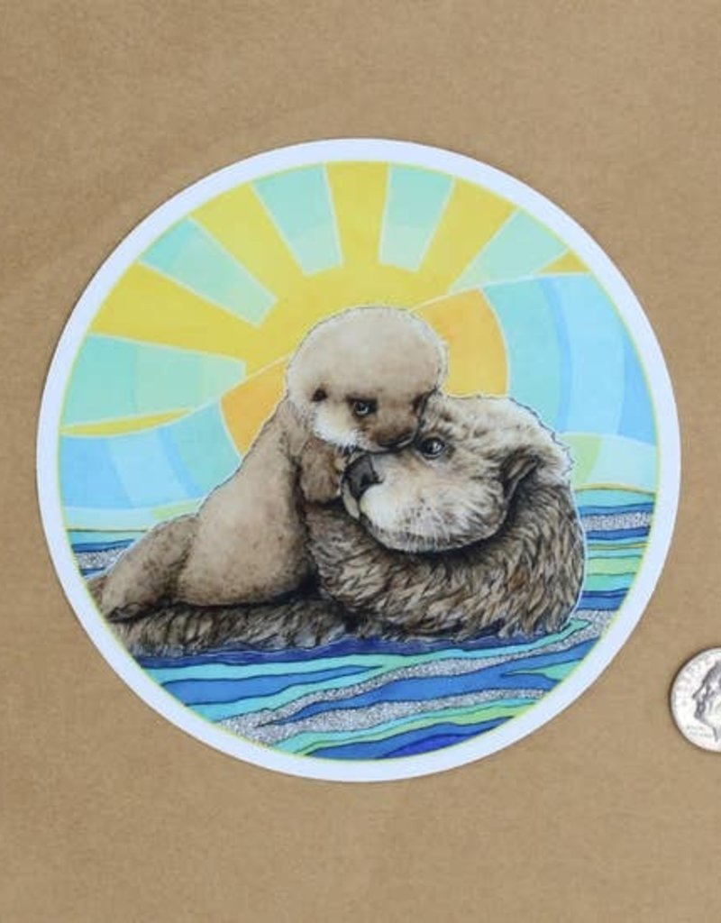 Amy Rose Moore Illustration Sticker Mama Sea Otter And Baby