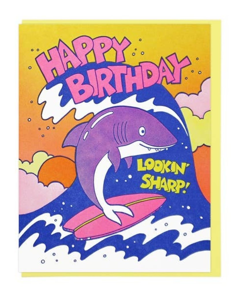Lucky Horse Press Card Lookin' Sharp Birthday Shark