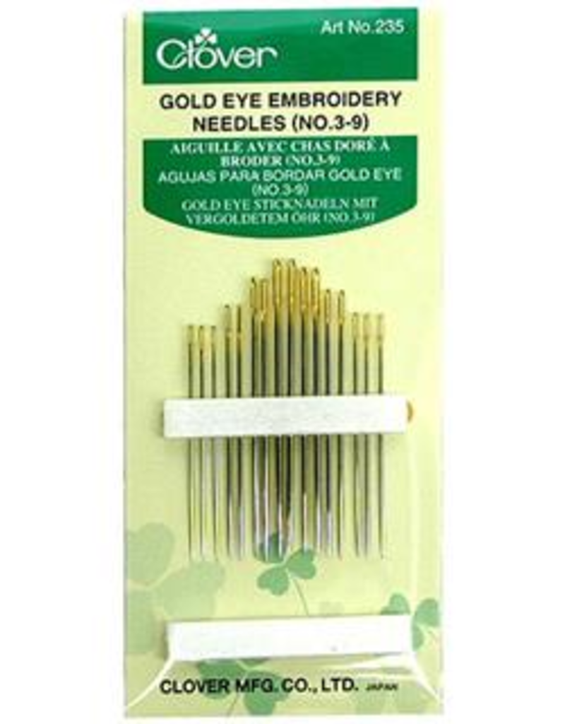 Clover Clover Hand Needle Gold Eye Embroidery #3/9 15pc