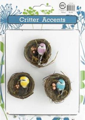 Sierra Pacific Crafts Mini Bird in Nest 3 Pack