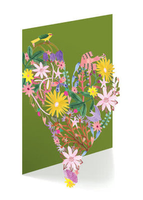 Roger La Borde Card Floral Heart Laser Cut