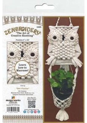 Design Works Crafts Inc. Zenbroidery Macrame Owl Planter Kit