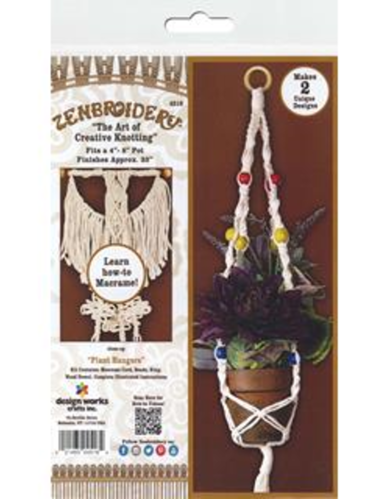 Design Works Crafts Inc. Zenbroidery Macrame Plant Hangers Kit