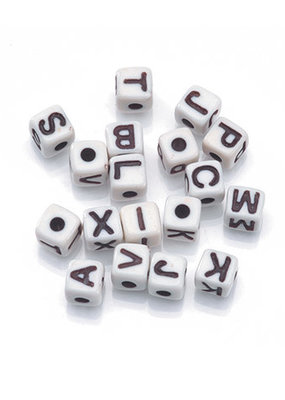 Darice Beads Alphabet Cube Black and White 5mm 104 pc