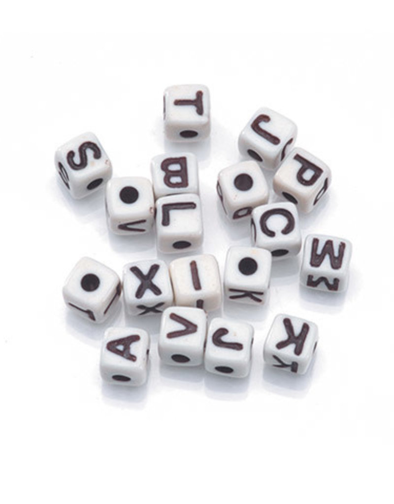 Darice Beads Alphabet Cube Black and White 5mm 104 pc