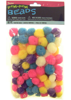 Darice Pom Pom Beads Bright Colors Assorted Sizes 90 Pieces