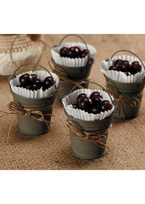 David Tutera Miniature Gray Tin Bucket