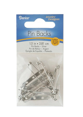 Darice Pin Backs Nickel Plated Steel 1.5 Inches 10 pieces