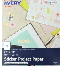 Avery Sticker Paper Sheets 8.5 x 11 White