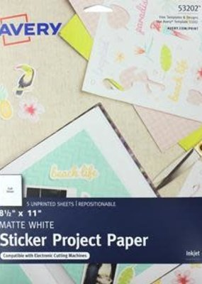 Avery Sticker Paper Sheets 8.5 x 11 White
