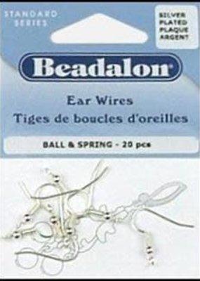 Beadalon Beadalon Ball and Spring Ear Wire Nickel Free Silver