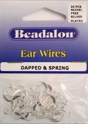 Beadalon Beadalon Ear Wire French Dapped And Spring Silver 4 Piece