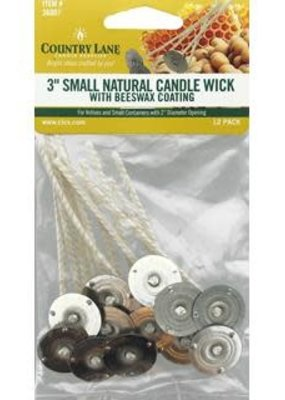 "Country Lane Country Lane Candle Wick Natural 3"" Beeswax Coated Small 20mm Tab"