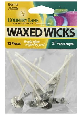 "Country Lane Candle Wick 2"" Waxed 15 mm Tab"