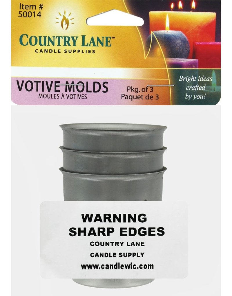 Country Lane Candle Mold Metal Votive 3 Piece