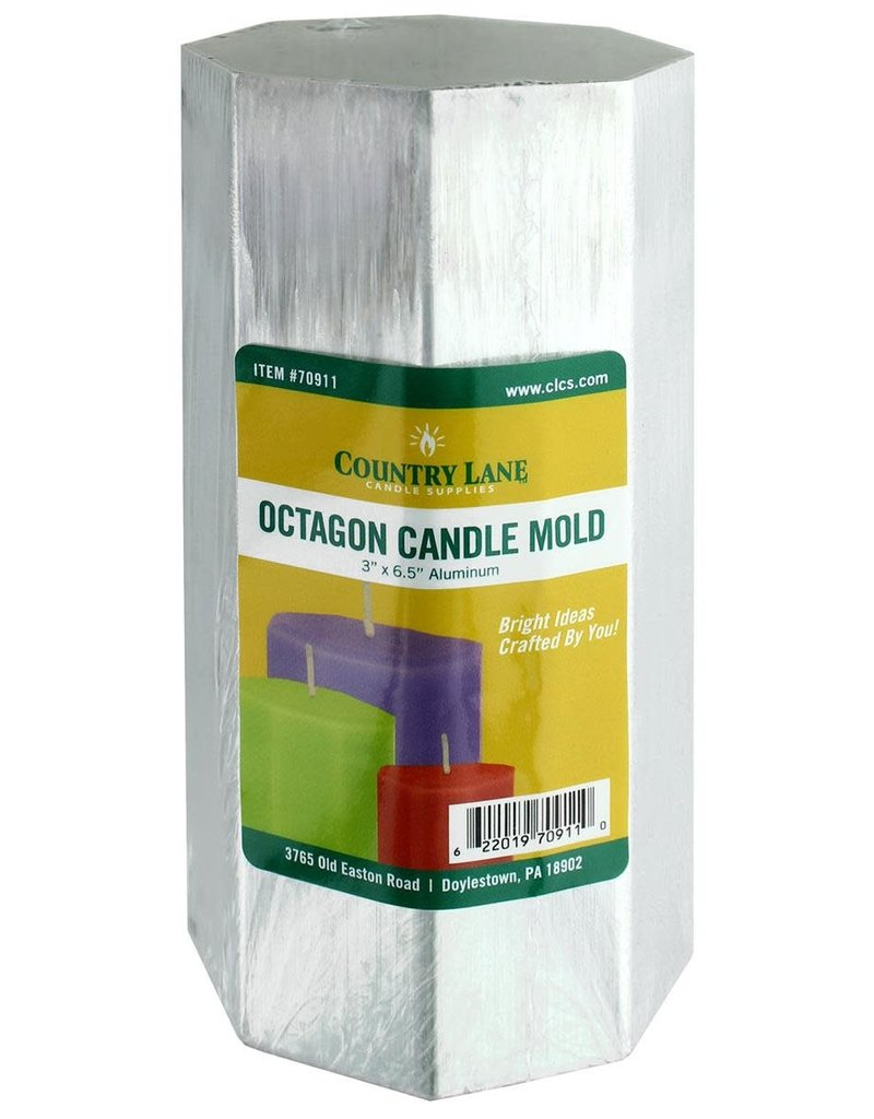 Country Lane Candle Mold Aluminum 3 x 6.5 Inch Octagon