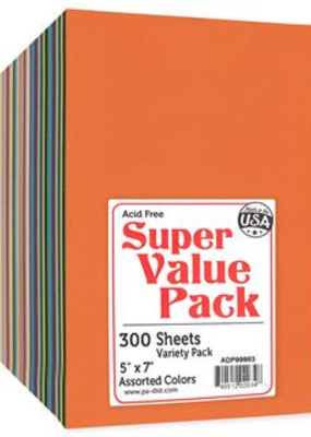 Paper Accents Super Value Pack 5 X 7 Cardstock Various Colors 300 Piece