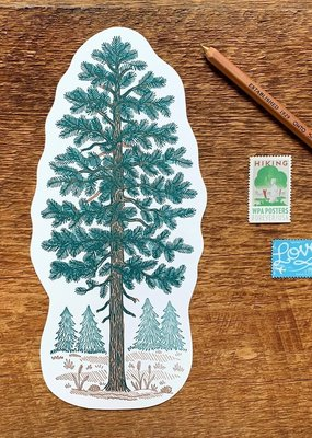 Noteworthy Postcard Die Cut Pine Tree