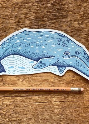 Noteworthy Postcard Die Cut Grey Whale