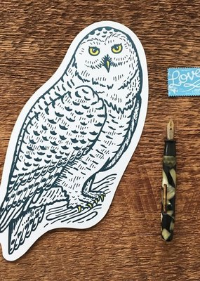 Noteworthy Postcard Die Cut Snowy Owl