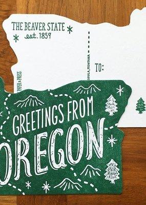 Noteworthy Postcard Die Cut Greetings From Oregon