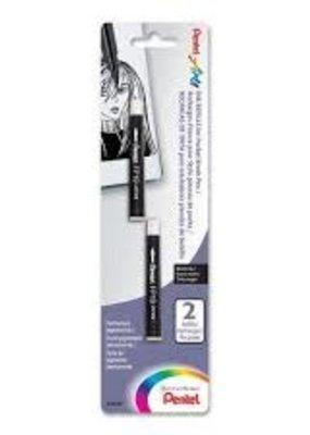 Pentel Pocket Brush Pens Black Ink Refill 2 Pack