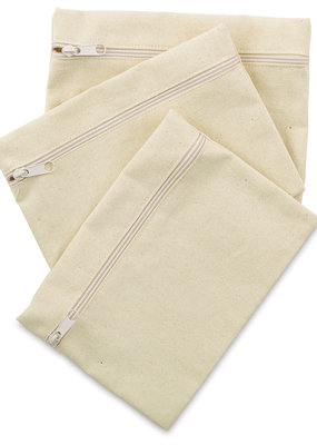 Mark Richards Zippered Pouch Canvas Natural 3 Piece Set