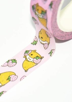 Noristudio Washi Pink Strawberries and Guinea Pig