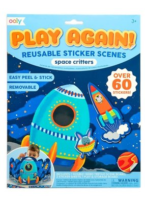 Ooly Play Again Reusable Sticker Scene Space Critters