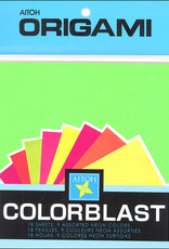 """Aitoh Origami Neon 5 7/8"""" Square 18 Sheet Pack"""