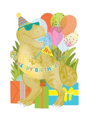 Alexis Mattox Design Die Cut Card Birthday Dino